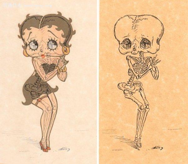 并画出每位卡通人物复杂的骨骼结构,然后再把骨架与卡通人物重叠,让图片