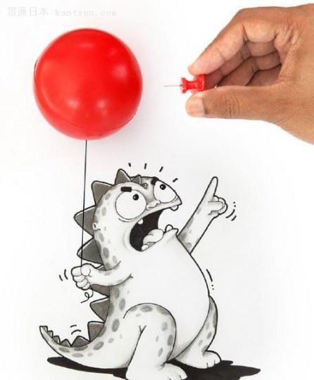 漫画家与笔下小恐龙的互动好可爱